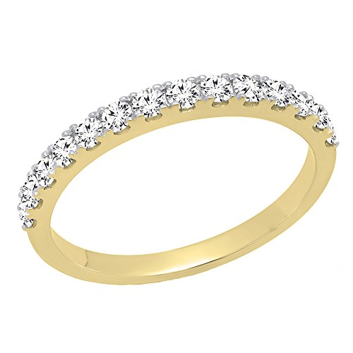 0.50 Carat (ctw) 10K Yellow Gold Round Diamond Wedding Anniversary Stackable Band 1/2 CT (Size 5.5)