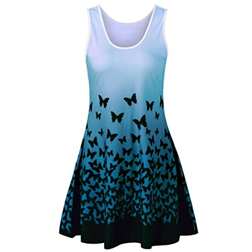 Wintialy Womens Butterfly Printing Sleeveless Party Dress Vintage Casual Dress ()