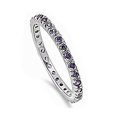 Eternity Purple Ring (Stackable Eternity Wedding Engagement Band Ring Round Simulated Purple Amethyst 925 Sterling Silver)