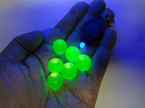 Uranium Marbles 5/8TH Size 6 Pack with Free Black Light Key Chain ()