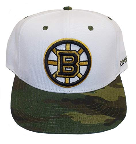 Boston Bruins White / Camouflage Adjustable Snapback Hat / Cap ()