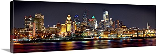 phia Skyline NIGHT 16 inches x 46 inches PHILLY Color City Photographic Panorama Print Picture ()