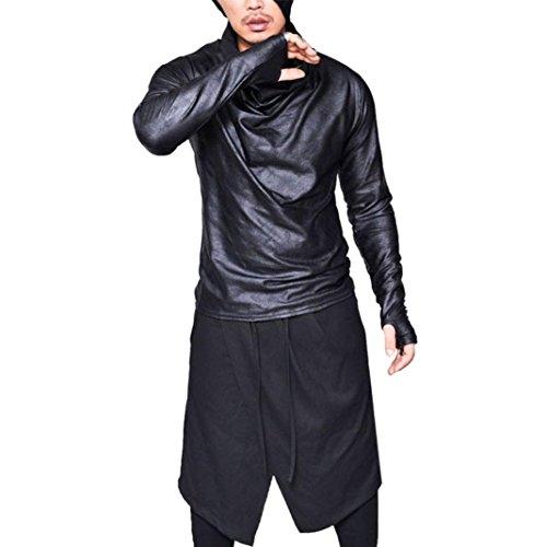 kaifongfu Men Shirt,Men Slim Fit Heap Shirt Collar Long Sleeve Muscle Tee T-Shirt Tops Blouse(Black,L) ()
