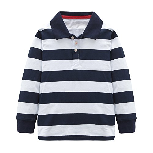 Multi Striped Polo Shirt - HowJoJo Boys Cotton Long Sleeve T-Shirts Striped Polo Shirts Blue 5T