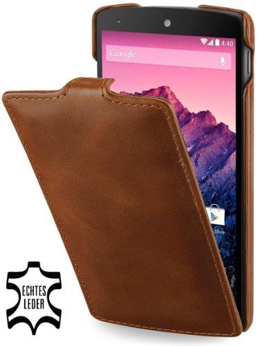 StilGut UltraSlim, funda de cuero genuino para Google Nexus 5, Púrpura Cognac