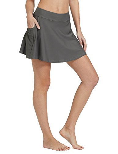BALEAF Women's High Waisted Swim Skirt Bikini Tankini Bottom with Side Pocket Grey Size S