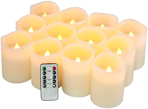 Flameless Candles Battery Operated Candles Set of 12 D 3 X H 4 Pillar Real Wax Led Candles with 10-Key Remote and Cycling 24 Hours Timer