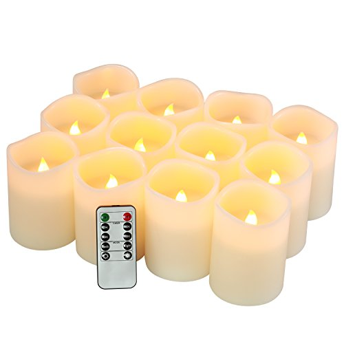qinxiang Flameless Candles Battery Operated Candles Set of 12(D3 x H4) Pillar Real Wax Led Candles with Remote -
