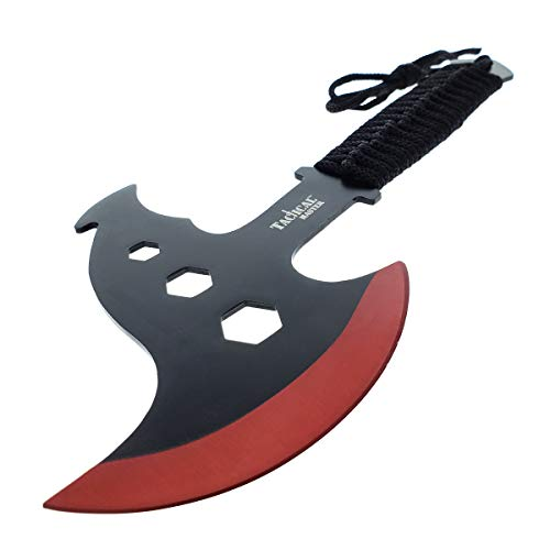 Tactical Survival Tomahawk Throwing Axe and Throwing Knife with Sheath Set. Camping Hunting Fishing Survival Axe Hawk Hatchet (Red) by Tactical Master (Image #2)