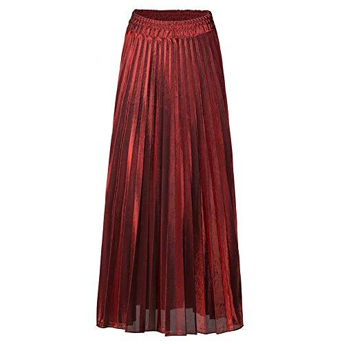Femmes Pliss Rtro Jupe Longue Haute Taille Lustre Mtallique Briller Grand Pendule A-Line Plage Chic Classique Jupes Vin Rouge