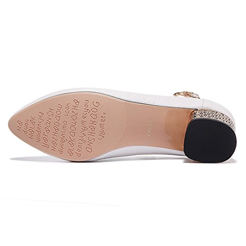Strap White Women's Pointy Mid Ankle Chunky U Pumps Pumps Toe Dress MAC Classy zqTwpO