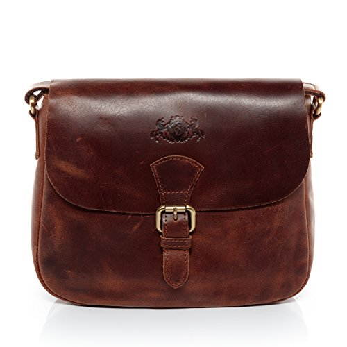SID & VAIN small shoulder bag - woman handbag YALE | hobo cross-body bag women´s bag brown-cognac leather | PREMIUM-QUALITY Leather Small Hobo Bag