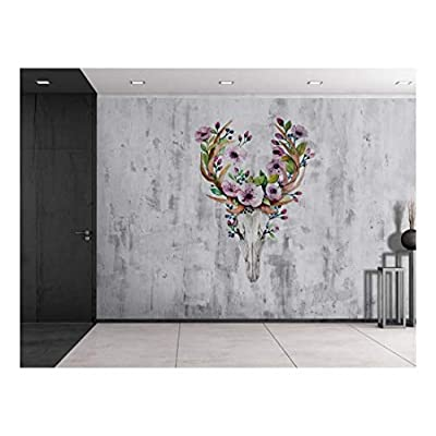 Created Just For You, Pretty Technique, Deer Skeleton with Flowers Sitting on a Grayscale Grungy Texture with a Vignette Effect Around It Wall Mural Removable Vinyl Wallpaper