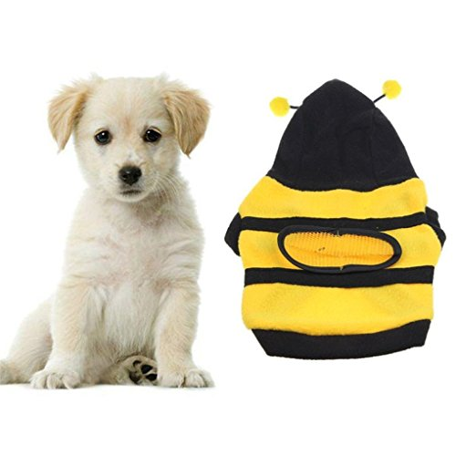 Dog Bee Costume Uk (Hihihappy Lovely Clothes,autumn Velvet Bumble Bee Lovely Dog Cat Clothes Dog Costume Yellow12)