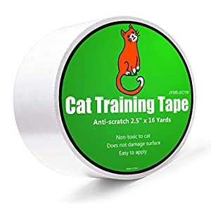 Anti-scratch Cat Tape for Furniture – Stop Cat from Scratching Couch,Corners of Chair,Door Frame, Counter Tops and Carpet – Clear Double Sided Tape for Cat Scratching Cat Training Tape 2.5″ x 16 Yard