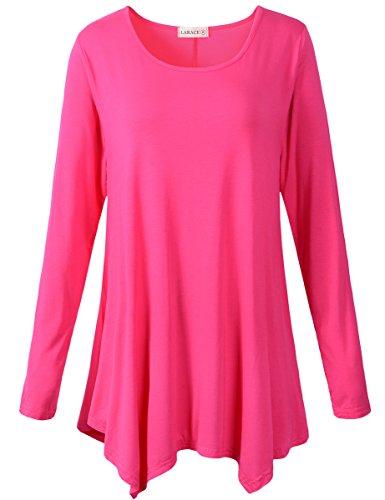 LARACE Womens Long Sleeve Flattering Comfy Tunic Loose Fit Flowy Top (3X, Rosepink)
