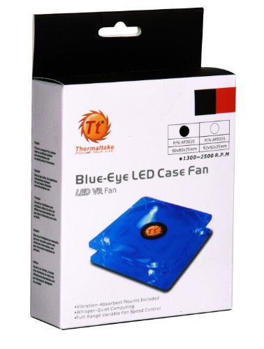 Thermaltake Blue-Eye Silent Smart 80mm Blue Led Case Fan with Adjustable Fan Speed Control AF0025