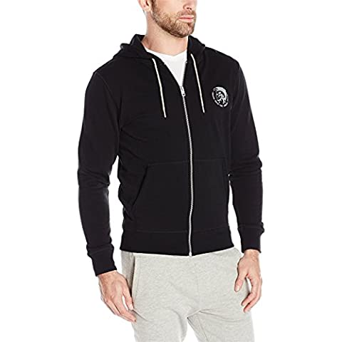 Diesel Men's Brandon Mohican Zip Hooded Sweatshirt,Black,Medium (Men Diesel Top)