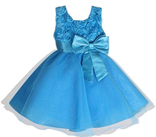 Bigood(TM) Little Girl Flower Long Dress Chiffon Bowknot Skirt 12 Blue