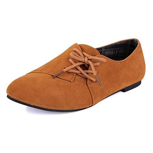 Cuir Casual Lacez Plat Kaki Femmes Ladies Toe Mocassins Chaussures Nubuck Tête 15pCcPq