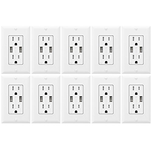 Topgreener Tu2153a Outlet With Usb 3 1a Usb Outlet Usb Wall Outlet