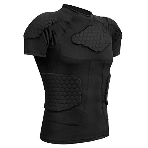 (Zicac Men's Sports Shock Rash Guard Compression Padded Shirt Soccer Basketball Protective Gear Chest Rib Guards (Black, US:M(Asia Tag L)))