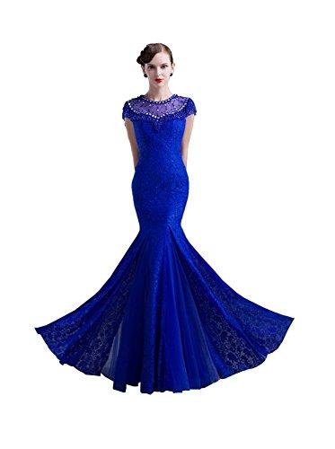 Beauty Königsblau Emily Band Nixe Abendkleider Transparent LangKurzarm UUxB4PRwqA