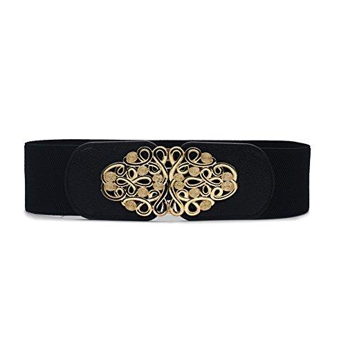 [해외]Wyenliz 여성용 신축성있는 스트레치 와이드 허리 멘탈 버클 신축 허리띠/Wyenliz Women`s Elastic Stretch Wide Waist Mental Buckle Cinch Belt