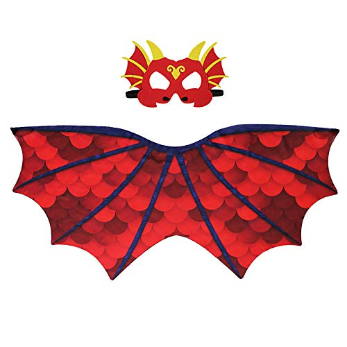 Dragon Wing Cape And Dinosaur Mask Parrot Dance Party Dress Halloween Costume For Kids