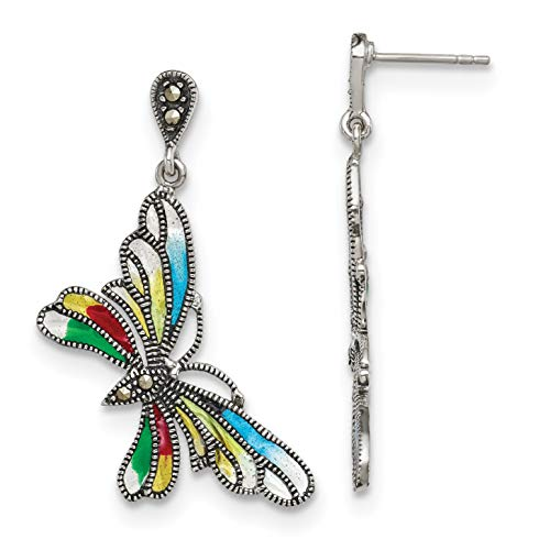 Sterling Silver Simulated Marcasite and Multi Color Epoxy Butterfly Earrings (Approx. 39mm x 25mm)
