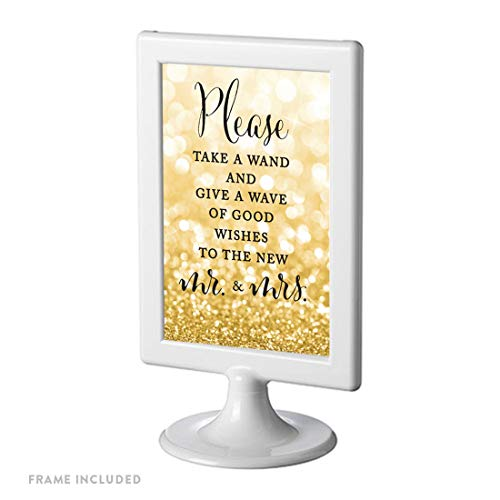Andaz Press Framed Wedding Party Signs, Glitzy Gold Glitter, 4×6-inch, Please Take a Wand and Give a Wave of Good Wishes to The New Mr. & Mrs, 1-Pack
