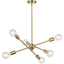 BONLICHT Modern Sputnik Chandelier Lighting 6 Lights Brushed Brass chandelier Mid Century Pendant Lighting Gold Ceiling Light Fixture for Hallway Bar Kitchen Dining Room