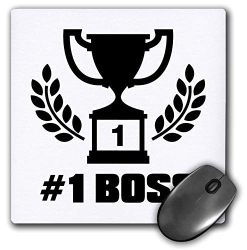 3dRose Russ Billington Designs - Number One Boss Design with Winners Cup and Laurel Leaves - Mousepad (mp_238885_1)