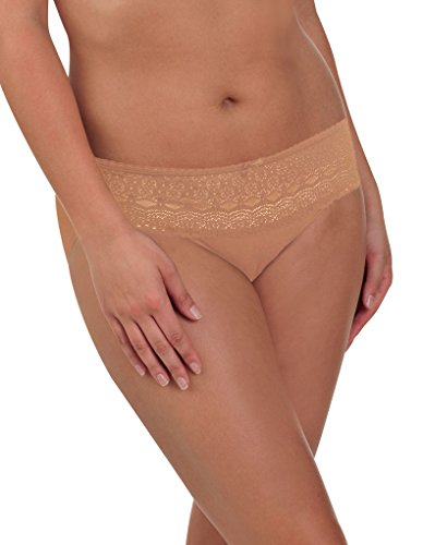 Naomi and Nicole Edgies Nude Lace Hipster A163 Medium (Brand Size 6) Nicole Hipster Panties
