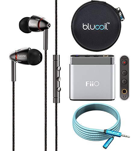 1MORE E1010 Quad Driver in-Ear Headphones Bundle with FiiO A1 Silver Portable Headphone Amplifier, Blucoil 6-FT Headphone Extension Cable (3.5mm), and Portable Earphone Hard ()