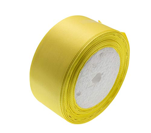 ATRibbons 50 Yards 1-1/2 inch Wide Satin Ribbon Perfect for Wedding,Handmade Bows and Gift Wrapping,25 Yards/Roll x 2 Rolls (Lemon Yellow)