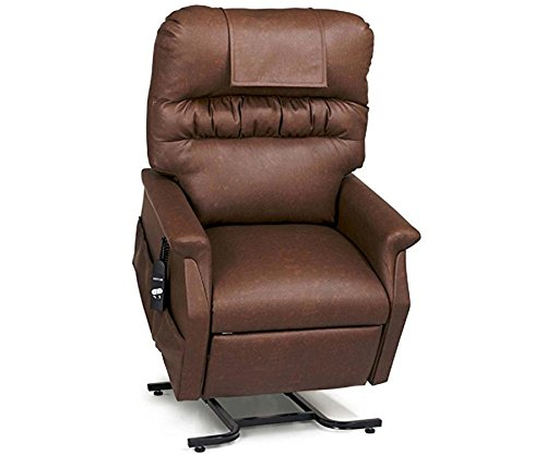 Golden Technologies Monarch PC-355M Medium Lift Chair 3-Position Recliner - PR355-MED Heat and Massage Chestnut Brown Easy Care Vinyl - In-Home Delivery and Setup