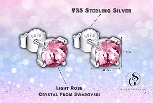 Swarovski Stud Earrings for Women  925 Sterling Silver Crystal Earrings  Birthstone Earrings Studs