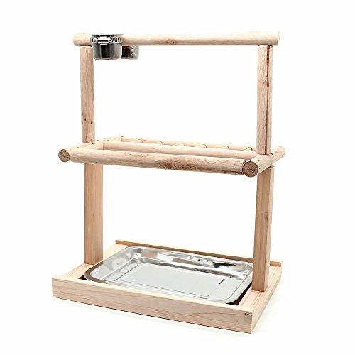 Mrli Pet Parrots Playstand Bird Playground Wood Perch Gym Stand Playpen Bird Ladders Exercise Playgym for Electus Cockatoo Parakeet Conure Cockatiel Cage Accessories Exercise Toy (Include A Tray) by Mrli Pet (Image #7)
