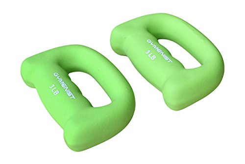 GYMENIST Set of 2 Hand Shaped Neoprene Exercise Workout Jogging Walking Cardio Dumbbells Pair (3-LB Green)