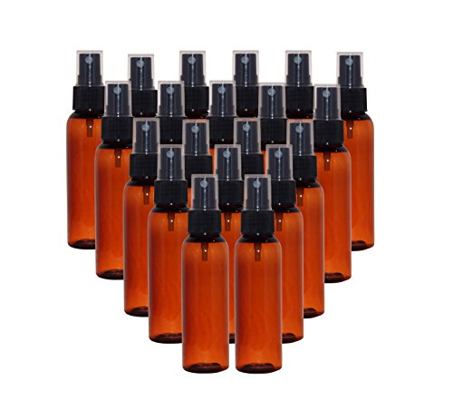 WM (Bulk Pack of 24) 2 oz Travel Refillable, Empty PET Plastic Bottles w/Black Spray Top - DIY travel, hydration, aromatherapy, arts & crafts, and more (Amber)