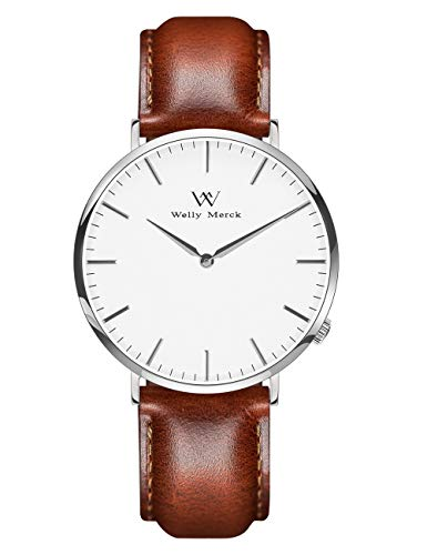 Crystal Design Watch - Welly Merck Men Minimalistic Watch Luxury Design Swiss Quartz Movement Sapphire Crystal Stainless Steel Analog Wrist Watch with Interchangeable Leather Strap,5ATM Water Resistant