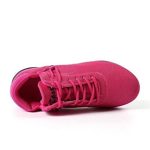 up Lace Weiß Schwarz 41 Rot 35 Yoga Sport Tanzen Hop Hip Mesh Modernen 3 Rosa Schuhe Rosa Sneaker Fitness Damen Turnschuhe 5cm Jazz qHa7Owg