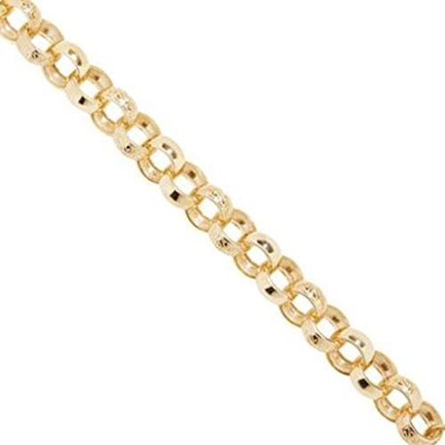Chaîne Belcher or jaune 9carats rond Scroll-Collier Femme-9mm d'épaisseur-Différentes longueurs-20, 22, 24, 26, 28et 76,2cm Long