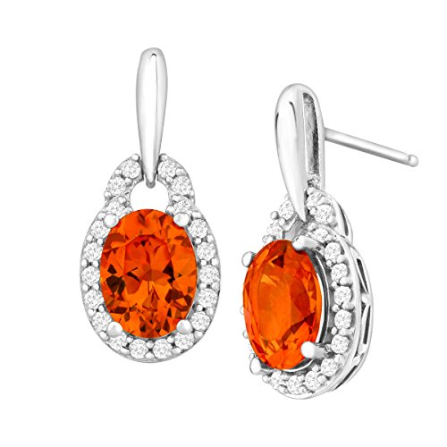 3 3/4 ct Created Padparadscha & White Sapphire Drop Earrings in Sterling Silver