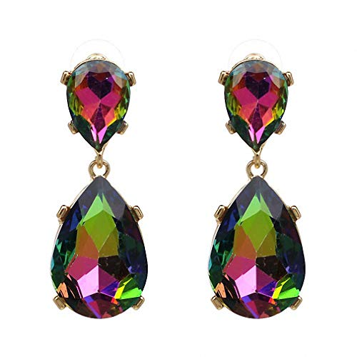 (Exquisite Crystal Dangle Earrings Water Drop Brincos White Green Statement Party Jewelry)