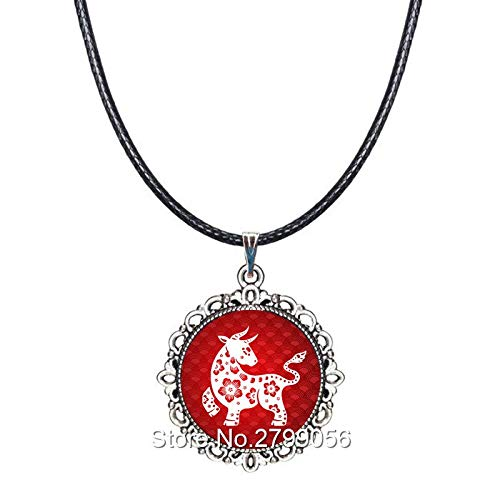 (Chinese Zodiac Necklace 12 Constellation Choker Year of The Rat Tiger Rooster Pig Pendant Rope Collar Accessories Birthday Gifts)
