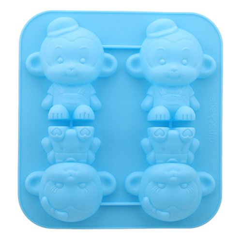 Rurah 4 Monkey Shape Silicone Fondant Mold Candy Mold Cake Decorating Molds Craft Chocolate DIY Moulds