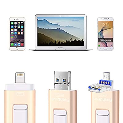 Flash Drives for iPhone and iPad 128G,SUNANY iOS Flash Drive Memory Stick Expansion for iPhone,iPad,MacBook,Android,pc and More Devices with USB Port (128GB Gold)