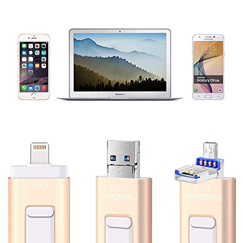 Flash Drives for iPhone and iPad 128G,SUNANY iOS Flash Drive Memory Stick Expansion for iPhone,iPad,MacBook,Android,pc and More Devices with USB Port (128GB Gold) by Sunany (Image #1)